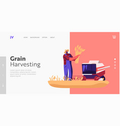 Harvesting cereal agriculture farming work vector