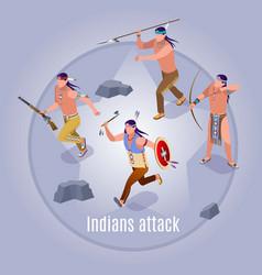 Indians attack wild west vector