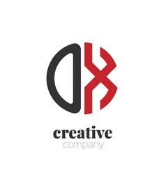 initial letter ox creative elegant circle logo vector image