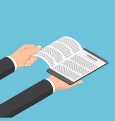 isometric businessman hands open ebook on digital vector image