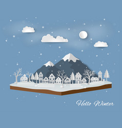 isometric landscape with countryside in winter vector image