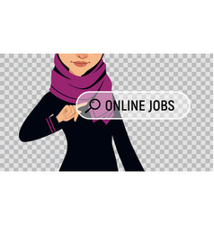 Job search muslim woman writes online job vector