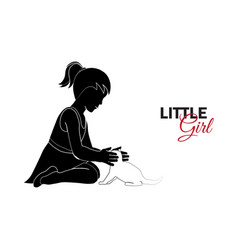 little child baby little girl playing vector image