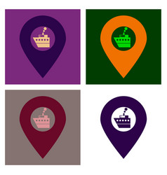 Location icon with ship flat style for graphic vector