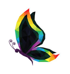 low poly rainbow pride butterfly isolated icon vector image