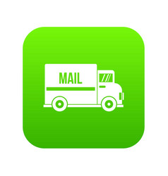 mail truck icon digital green vector image