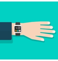 Man hand with smart watch vector image