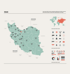 Map iran high detailed country vector