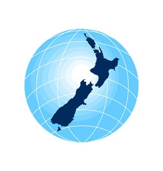 map new zealand with globe in background vector image