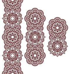 mehndi indian henna brown tattoo long pattern vector image