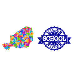 Mosaic map niger and grunge school stamp vector