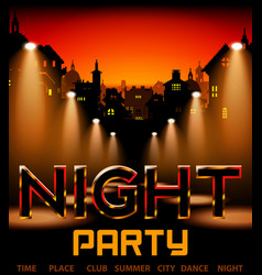 Night party with city on background with spotlight vector