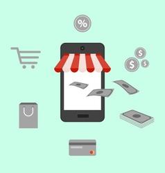 Online shopping digital marketing mobile smart pho vector