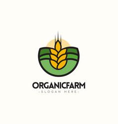 Organic farm logo template design vector