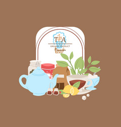 organic tea poster for cafes vector image