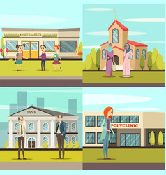 orthogonal municipal buildings icon set vector image vector image
