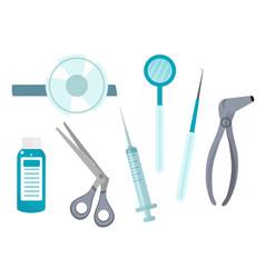 Otolaryngology tools icons flat style ent vector