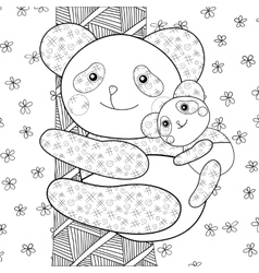 Panda kid coloring book page vector