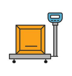 Parcel scales color icon vector