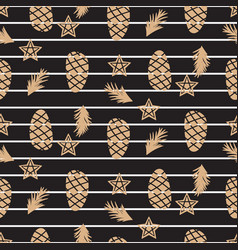 pine cone and stars winter black seamless pattern vector image