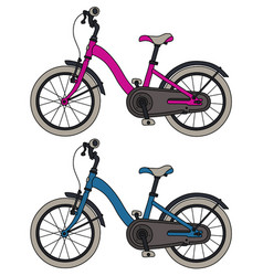 Pink and blue children bicycles vector