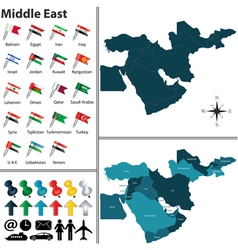 Political map of Middle East with regions vector