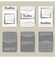 Polygonal design style letterhead and brochure for vector