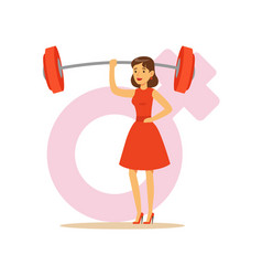 Powerful confident woman in a red dress lifting vector
