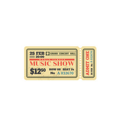 Retro ticket to classic music live show admit one vector