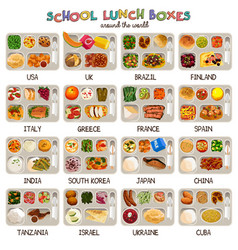School lunch boxes icons vector