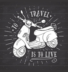 Scooter motorbike vintage label hand drawn sketch vector