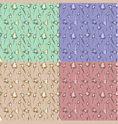 seamless colorful pattern set with leaf and vector image