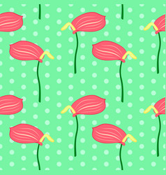 seamless floral pattern with pink anthurium vector image