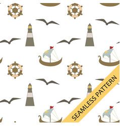 Seamless pattern with a nautical theme vector