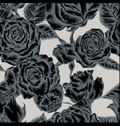 seamless pattern with hand drawn stylized roses vector image