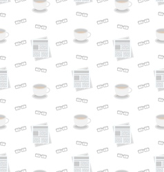 Seamless Pattern with Newspapers Coffee and vector image