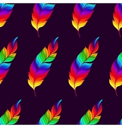 Seamless pattern with rainbow feathers vector