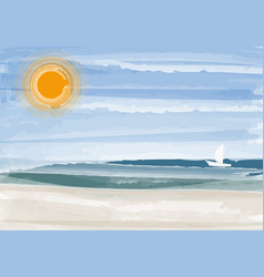 Seascape painting with sunset and beach vector