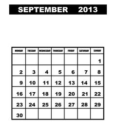 September calendar 2013 vector