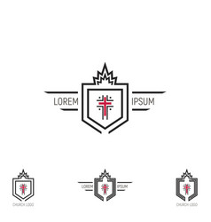 Set church logo shield with a cross vector