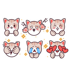 set emoticons cute kitty cat emoji stickers vector image