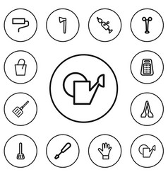 set of 12 editable equipment outline icons vector image