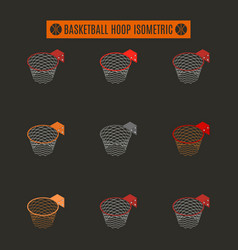 set of basketball rings with basket in isometric vector image
