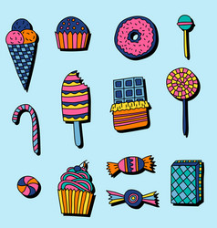 Set of candies and sweets in doodle style vector