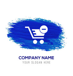 shopping cart and delete sign - blue watercolor vector image