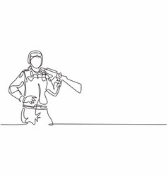 single one line drawing young brave female vector image