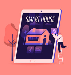 smart house concept tiny man stand on ladder put vector image