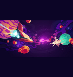 spaceship in outer space with planets or asteroids vector image