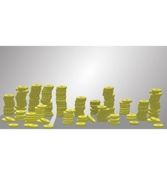 Stacks of coins a lot number vector