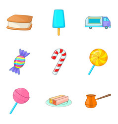 Sweetmeat icons set cartoon style vector